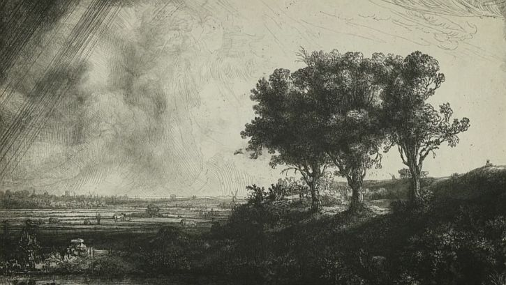 Rembrandt Three Trees, etching, 1643