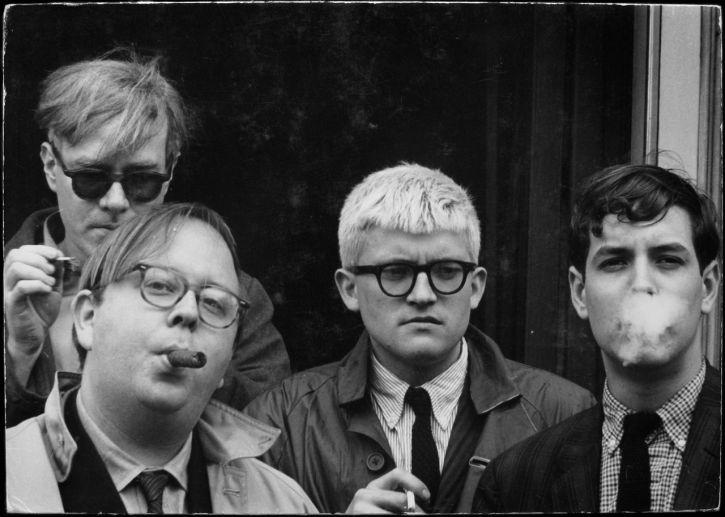 Andy Warhol, Henry Geldzahler, David Hockney and David Goodman.