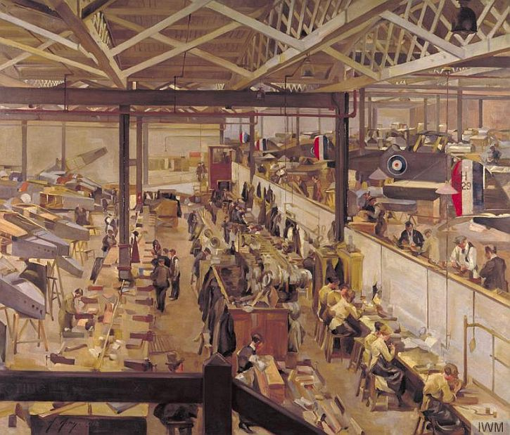 Anna Airy, An Aircraft Assembly Shop, Hendon