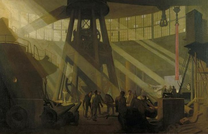 Clausen, Study for 'The Gun Factory at Woolwich Arsenal'