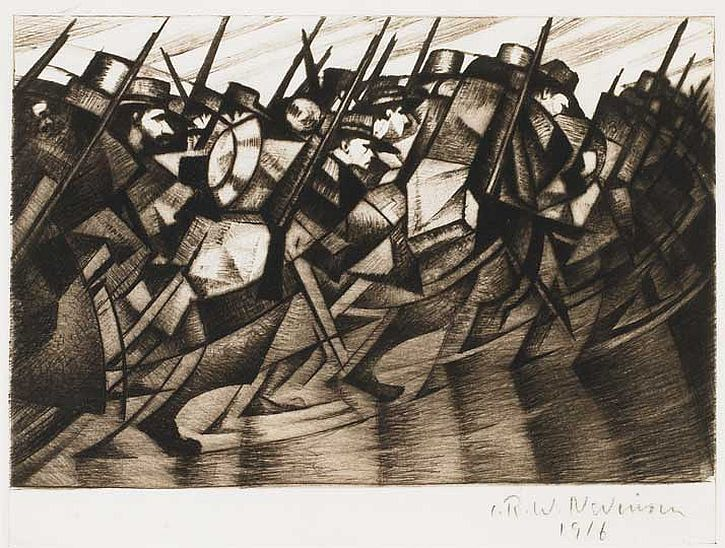 CRW Nevinson, Returning to the Trenches, engraving, 1916