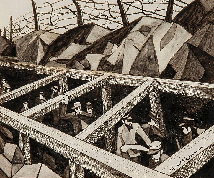 CWR Nevinson, La Guerre des Trous (The Underground War, 1915)
