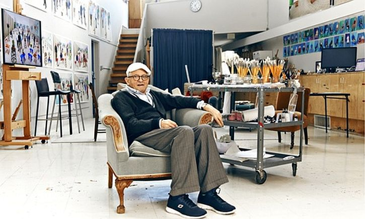 David Hockney at home in the Hollywood Hills. He returned to LA last year.