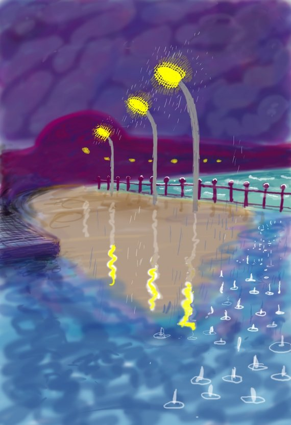 Hockney, Street-lamps-Bridlington
