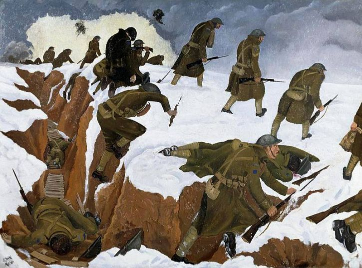John Nash, 'Over The Top'. 1st Artists' Rifles at Marcoing, 30th December 1917