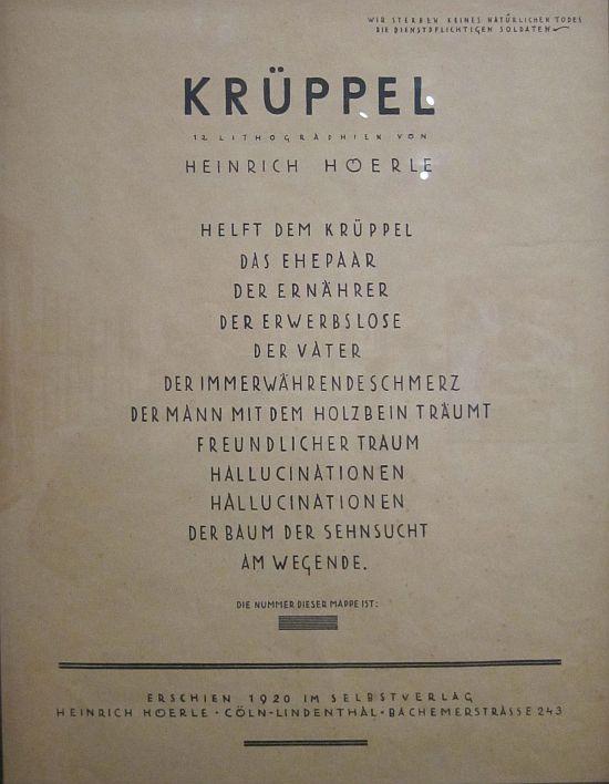 Kruppel 1920 Heinrich Hoerle