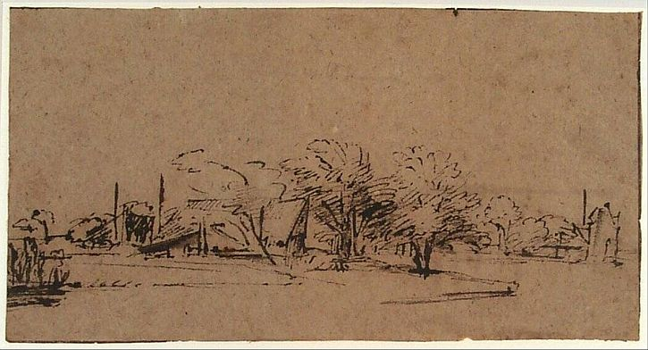 Rembrandt, Farmhouse on a River, 1652