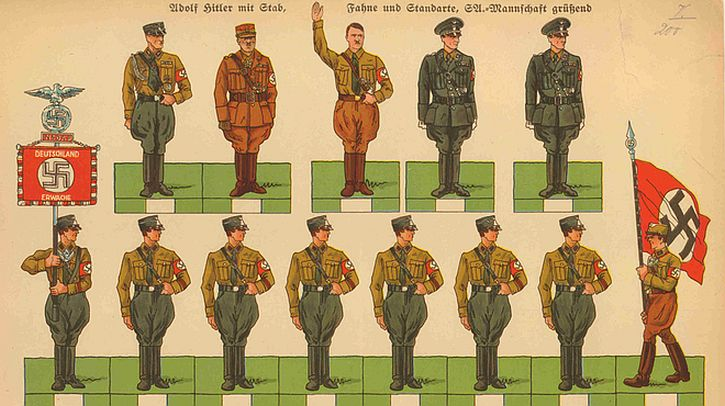 sheet of cut-out figures of Hitler and German soldiers 1939