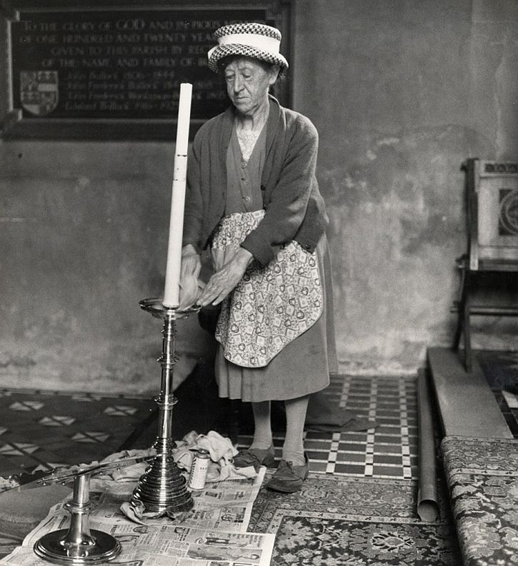 Church cleaner, Ashbrittle, Somerset, 1950s by Jane Bown