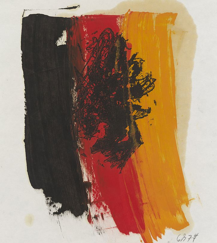 Georg Baselitz, Inverted Eagle with the Colours of the German Flag, 1977
