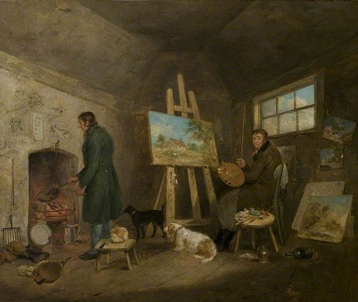 George Morland, The Artist in His Studio and His Man Gibbs, 1802