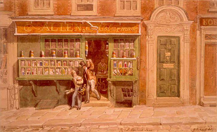 George Scharf, Allen's Colour Shop, St Martin's Lane, 1829