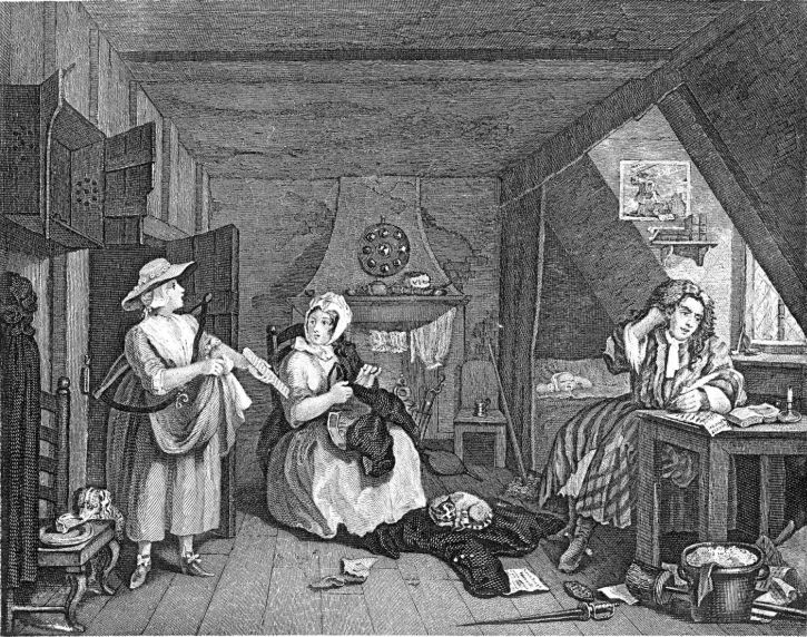 Hogarth, The Distressed Poet, 1737