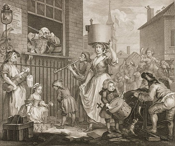 Hogarth, The Enraged Musician, 1741