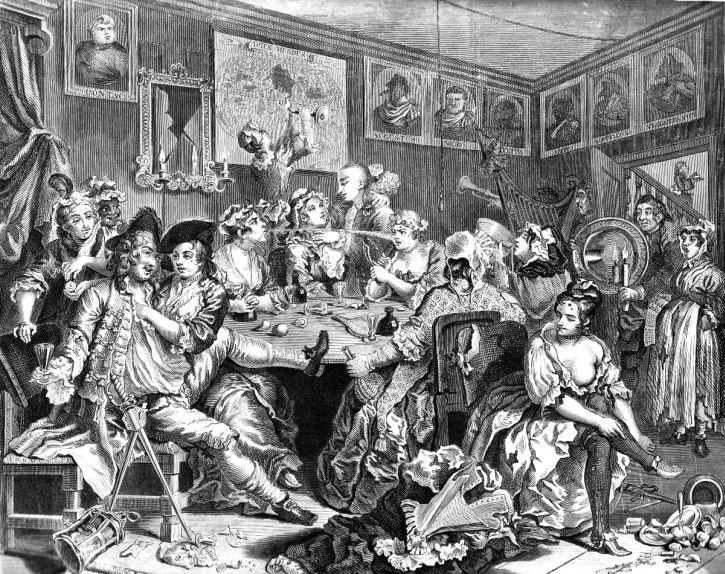 Hogarth, The Orgie at the Rose Tavern. 1735