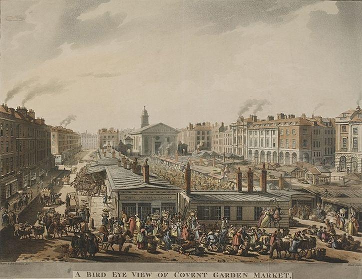 Rowlandson and Pugin, Bird Eye View of Covent Garden, 1811