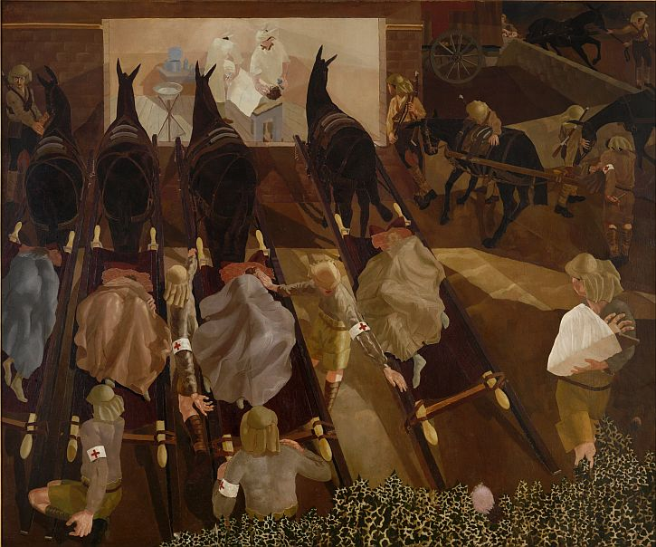 Stanley Spencer, Travoys Arriving with Wounded, September 1919