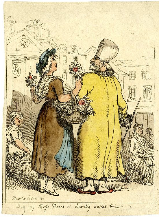Thomas Rowlandson, Buy my moss roses dainty sweet briar, 1811