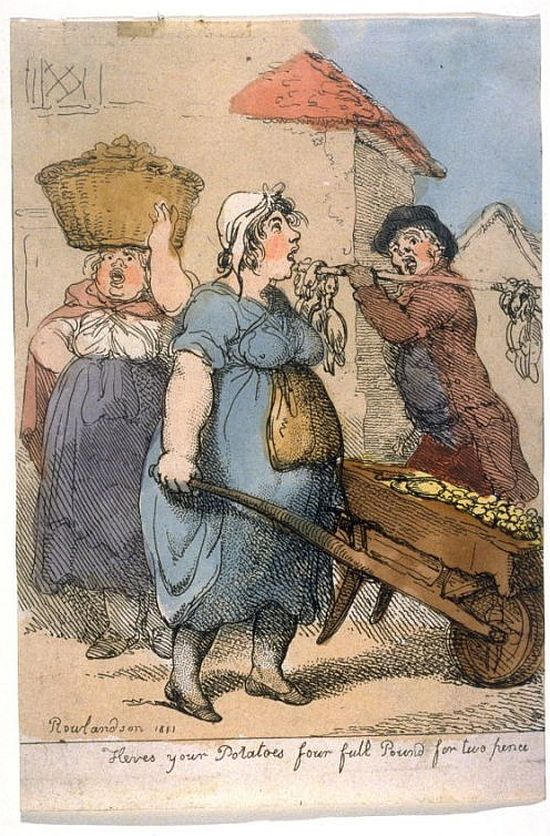 Thomas Rowlandson, Here's Your Potatoes, four full pound for two pence, 1811