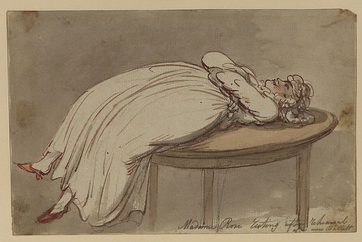 Thomas Rowlandson, Madame Rose resting after rehearsal of a new ballet