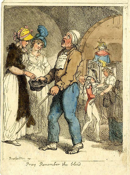 Thomas Rowlandson, Pray remember the blind, 1801