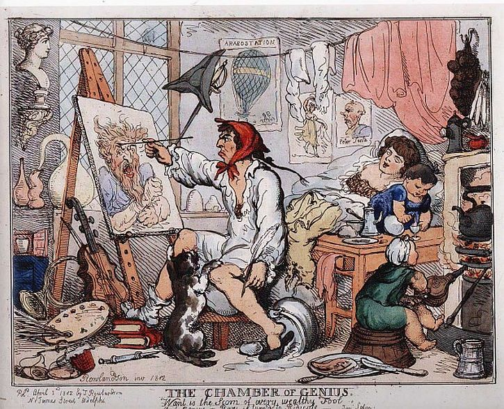 Thomas Rowlandson,  The Chamber of Genius, 1812