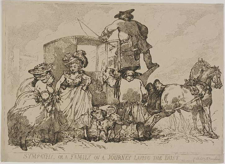 Thomas Rowlandson. Sympathy, or a Family on a Journey Laying the Dust, 1785