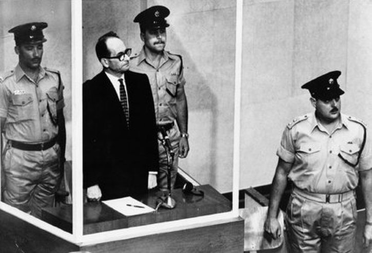 Adolf Eichmann in the Jerusalem courtroom in 1961