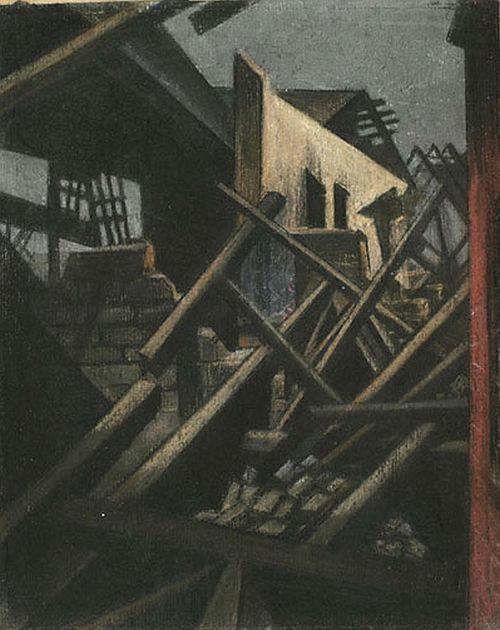 CRW Nevinson, Boesinghe Farm, 1916