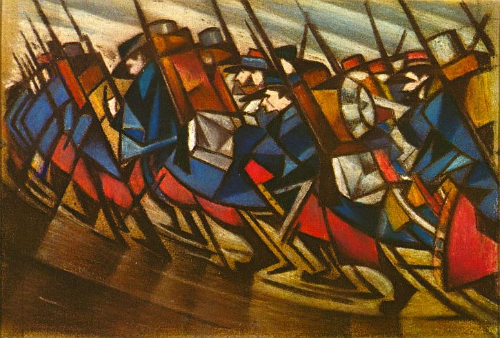 CWR Nevinson, Marching Men, 1916 pastel