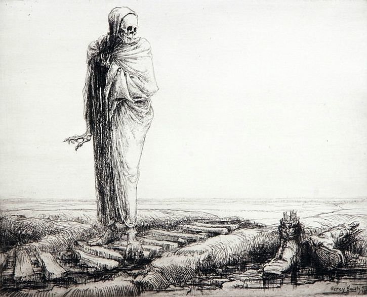 Dance of Death war etchings by Percy Smith - Death awed