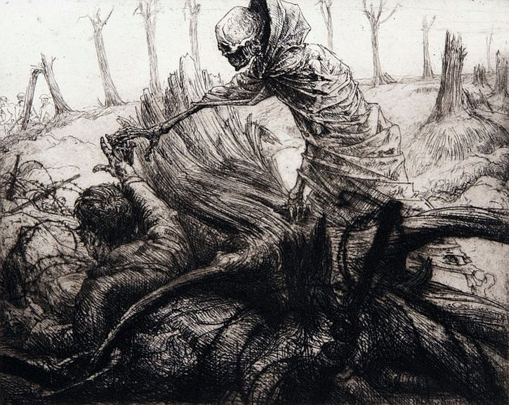Dance of Death war etchings by Percy Smith - Death forbids