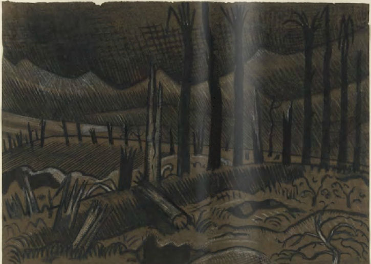 Paul Nash, Broken Trees, Wytschaete, 1917