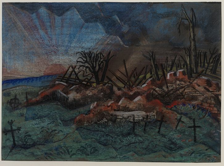 Paul Nash, Sunset Ruin of the Hospice, Wytschaete