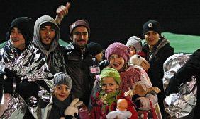 Migrants after disembarking from the Ezadeen