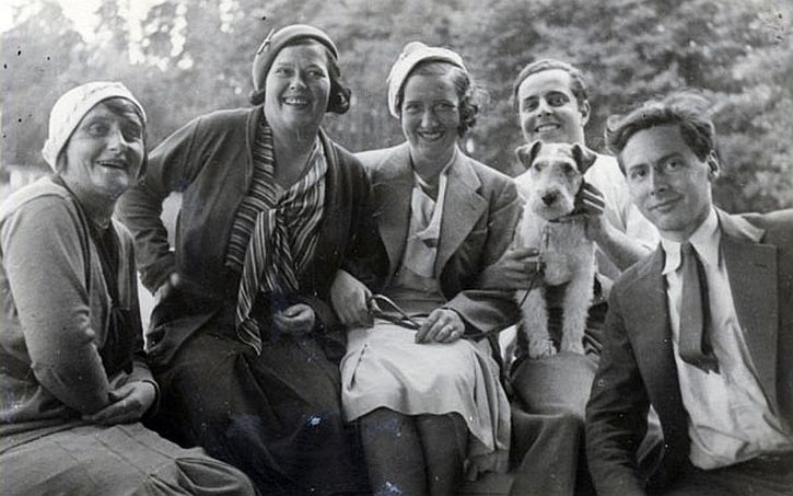 Teenagers Alfred Lion (2nd from right, with dog), and Frank Wolff with friends in Berlin, Germany, c. 1930
