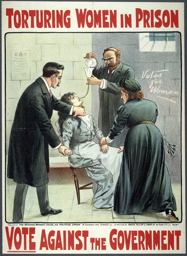 WSPU poster showing the force feeding of Suffragettes in prison