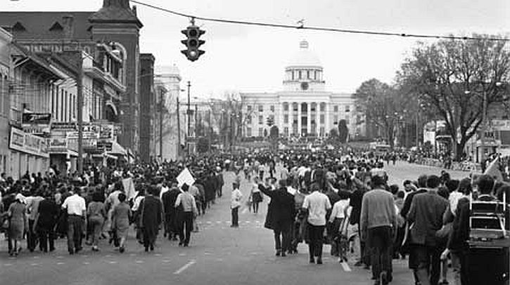 Demonstrators approach the Capitol Building in Montgomery at the end of the march