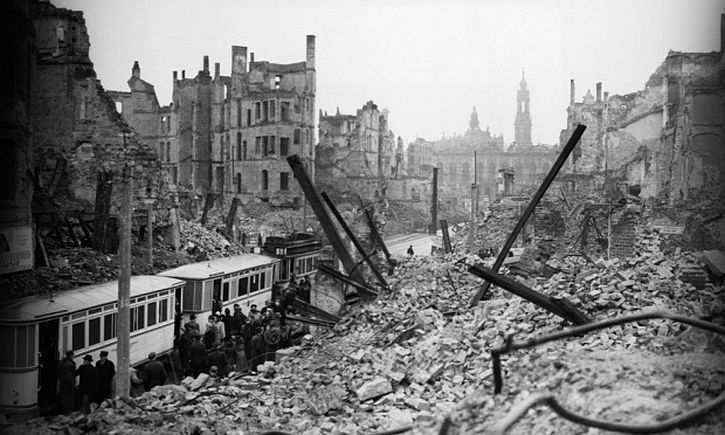 Dresden after the bombing on the night of 13 February 1945
