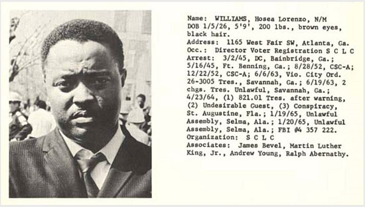 Hosea Williams, image and text from recognition documents distributed by the Alabama Dept. of Public Safety in the 1960s