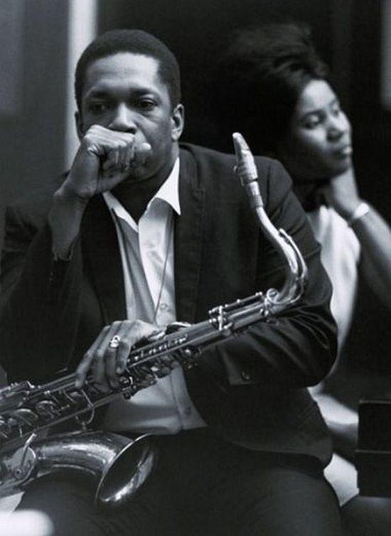 John Coltrane, photographed in the Van Gelder Studio with wife Alice