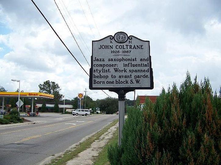 John Coltrane waymark in Hamlet, North Carolina