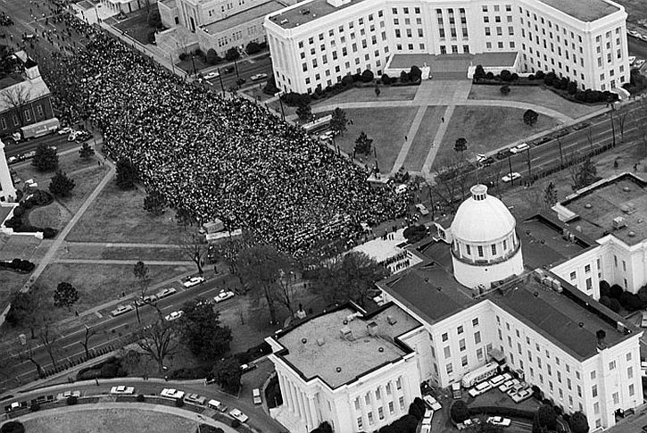 Martin Luther King addressing marchers at the Alabama State Capitol in Montgomery