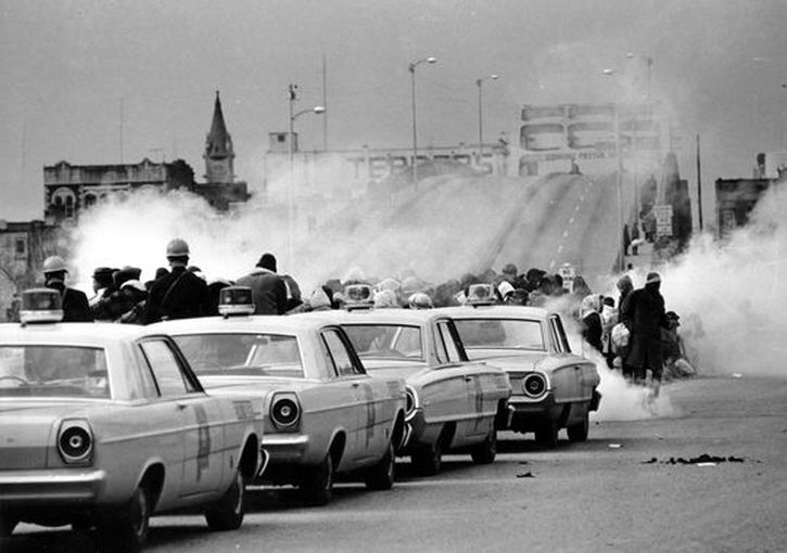 Tear gas fills the air as state troopers break up march in Selma, Alabama, on Bloody Sunday, March 7, 1965
