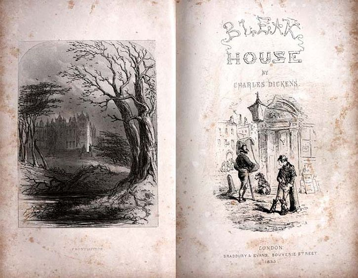 Frontispiece and title-page of Bleak House