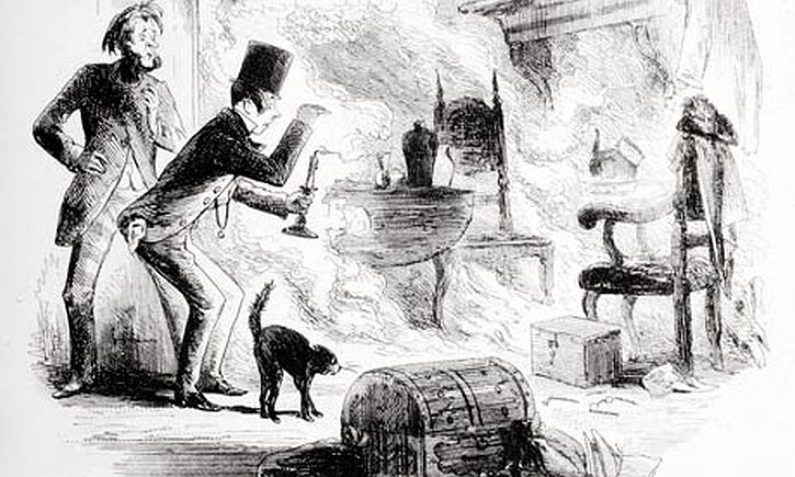 Krook's spontaneous combustion illustration by Phiz (Hablot Knight Browne) from Bleak House