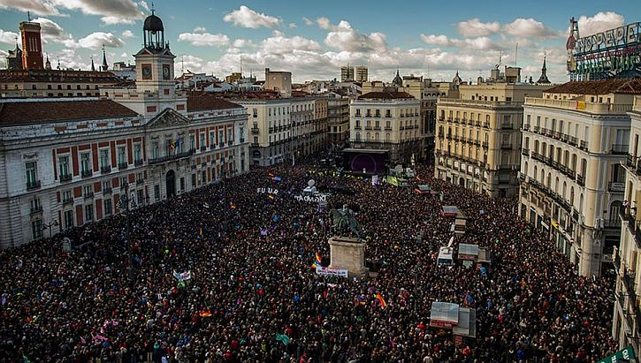 Podemos demo filling the Puerta del Sol. Madrid, January 31, 2015.