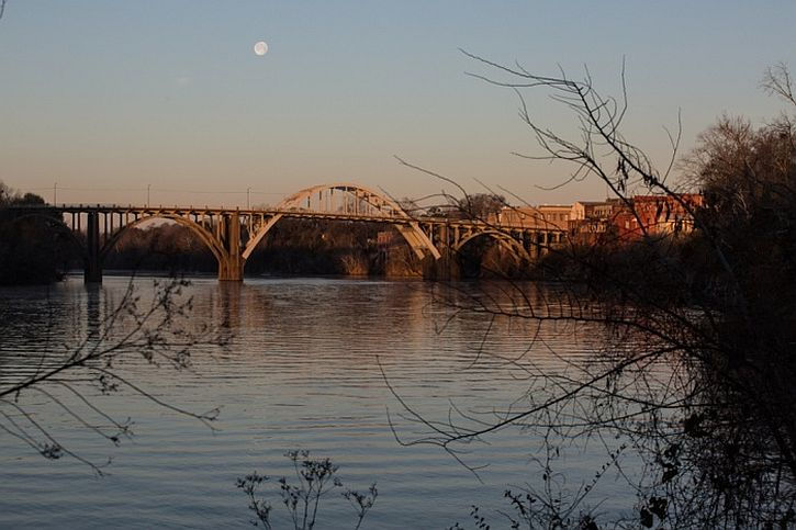 The sun rises over Edmund Pettus Bridge on the Alabama river, prior to celebrations commemorating the 50th anniversary of Bloody Sunday
