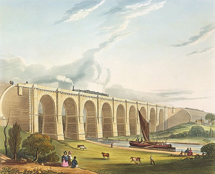 Viaduct across the Sankey Valley, from Bury's Liverpool and Manchester Railway, 1831