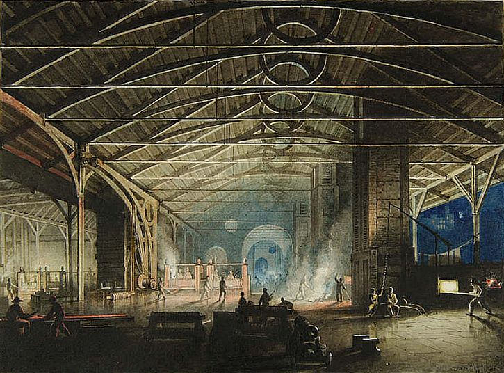'Cyfarthfa Ironworks Interior at Night', by Penry Williams, 1825